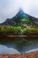 Preview iPhone wallpaper Xiangshan Hualiu Island, mountain, clouds, river, China