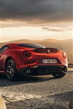 Preview iPhone wallpaper Alfa Romeo 4C red sport car back view, sunshine, clouds