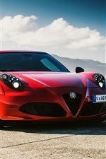 Preview iPhone wallpaper Alfa Romeo 4C red sport car front view, sea