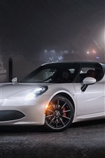 Alfa Romeo 4C white sport car at night, headlights