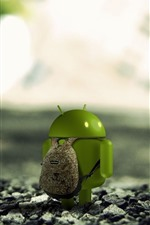 Preview iPhone wallpaper Android robot, backpack, travel, rocks