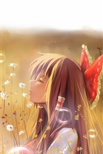 Preview iPhone wallpaper Anime girl, bubbles, flowers, bushes