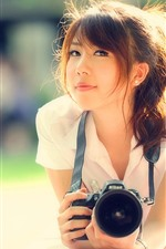 Preview iPhone wallpaper Asian girl, smile, camera, sunshine