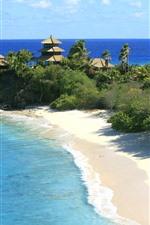 Preview iPhone wallpaper Beach, sea, trees, resort, summer