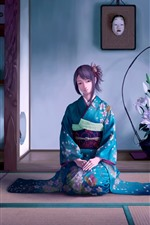 Preview iPhone wallpaper Beautiful Japanese anime girl, blue kimono, room