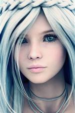 Menina bonita fantasia, olhos azuis, tranças