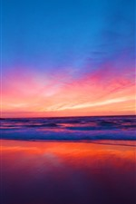 Preview iPhone wallpaper Beautiful sunset, sea, red sky, clouds, beach