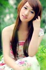 Preview iPhone wallpaper Beautiful young Asian girl, skirt, green plants, summer