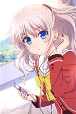 iPhone壁紙のプレビュー 青い目のアニメの女の子、ピンクの髪