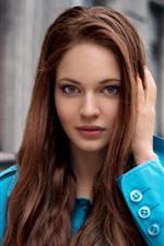 Preview iPhone wallpaper Brown hair girl, blue coat