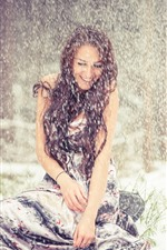 Preview iPhone wallpaper Brown hair girl in the snowy day, happy