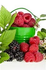 Preview iPhone wallpaper Bucket, raspberry, blackberry, flowers, green leaves