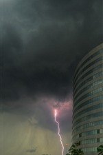 Preview iPhone wallpaper Buildings, lightning, clouds, storm