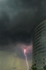 iPhone обои Здания, молния, облака, гроза
