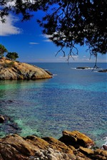 Preview iPhone wallpaper Catalonia, Spain, Mediterranean Sea, trees, rocks