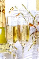 Preview iPhone wallpaper Champagne, glass cups, gifts, holiday