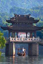 Preview iPhone wallpaper China, pavilion, bridge, river, green trees