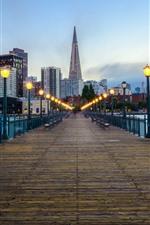 Preview iPhone wallpaper City, bridge, lights, river