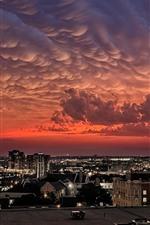 City, lights, night, roof, clouds