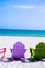 Preview iPhone wallpaper Colorful chairs, beach, sea