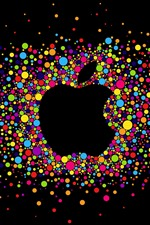 Preview iPhone wallpaper Colorful circles, Apple logo, black background