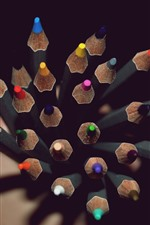 Preview iPhone wallpaper Colorful pencils, point, darkness