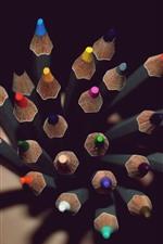 iPhone壁紙のプレビュー カラフルな鉛筆、ポイント、暗闇