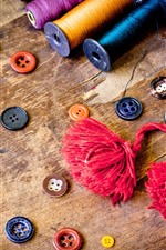 Colorful thread, buttons