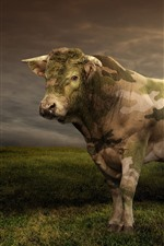Preview iPhone wallpaper Cow, camouflage, helicopter, grass, clouds, creative picture