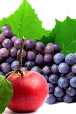 Preview iPhone wallpaper Fresh grapes and red apple, white background