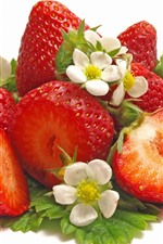 Preview iPhone wallpaper Fresh strawberries, flowers, white background