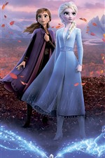 Preview iPhone wallpaper Frozen 2, Disney movie, sisters