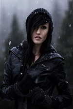 Preview iPhone wallpaper Girl in winter, snowy day, black jacket