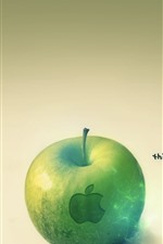 Preview iPhone wallpaper Green apple, Apple logo, think different