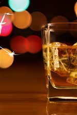Preview iPhone wallpaper Ice cubes, whiskey, glass cup, sparks