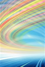 Preview iPhone wallpaper Light lines, rainbow colors, speed, abstract