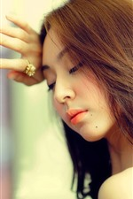 Preview iPhone wallpaper Long hair Asian girl, glass, sadness