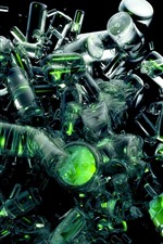 Preview iPhone wallpaper Many bottles explosion, glass, creative picture