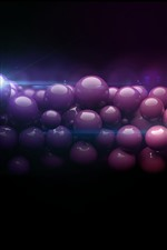 Muitas bolas roxas 3D, fundo preto brilhante