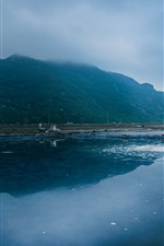 Preview iPhone wallpaper Morning, sea, mountains, woman, salt, Xiangshan, Hualiu Island, China