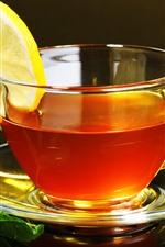 One cup tea, lemon slice, mint