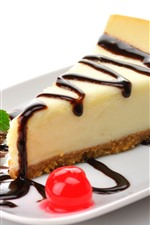 Preview iPhone wallpaper One slice cheesecake, cake, dessert, chocolate