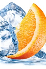Orange slice, ice cubes, white background