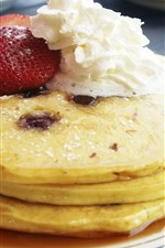 Preview iPhone wallpaper Pancakes, strawberry, cream, dessert