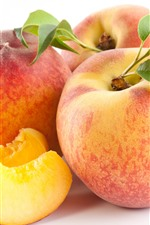 Preview iPhone wallpaper Peaches, slice, white background, fruit
