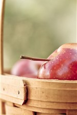 Red apples, basket, hazy