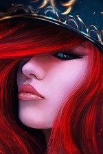 Preview iPhone wallpaper Red hair fantasy girl, hat, eye