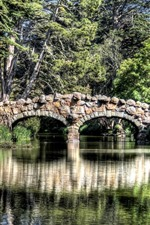 Preview iPhone wallpaper River, rock bridge, trees, green