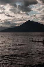 Preview iPhone wallpaper Sea, mountains, sun rays, marina, morning