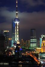 Shanghai, skyscrapers, tower, lights, city, night, China